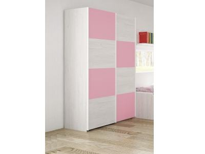 Children's Wardrobe with 2 Sliding Doors - Luddo. Pink colour