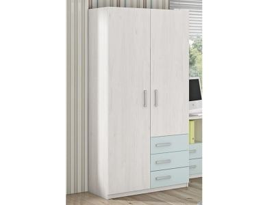Children's Wardrobe with 2 Doors and 3 Drawers - Luddo. Blue Drawers