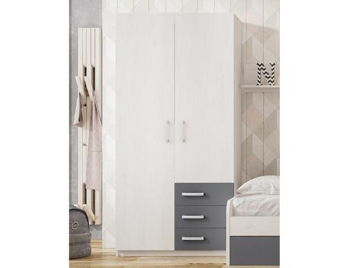 Armario juvenil de 2 puertas con 3 cajones color gris - Luddo