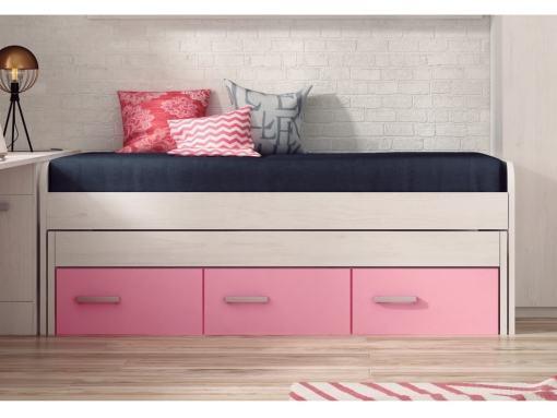 Cama compacta con cajones juvenil - Luddo. Cajones color rosa