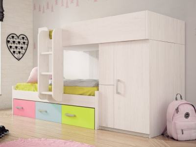 Children's Bunk Bed (90 x 190, 90 x 180 cm) with Wardrobe, 3 Drawers, Ladder - Luddo