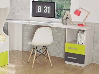 Long 2 Drawer Desk for Children, 220 x 50 cm - Luddo. Grey and Green Drawers