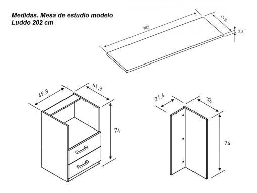 Medidas de mesa de estudio modelo Luddo 202 cm
