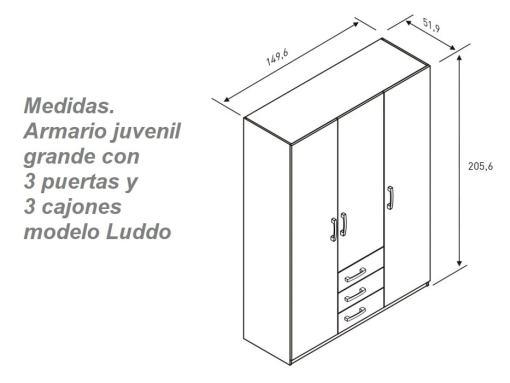 Размеры трёхдверного шкафа для детской комнаты - Luddo