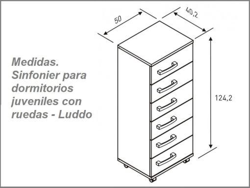 Medidas. Sinfonier para dormitorios juveniles con ruedas - Luddo