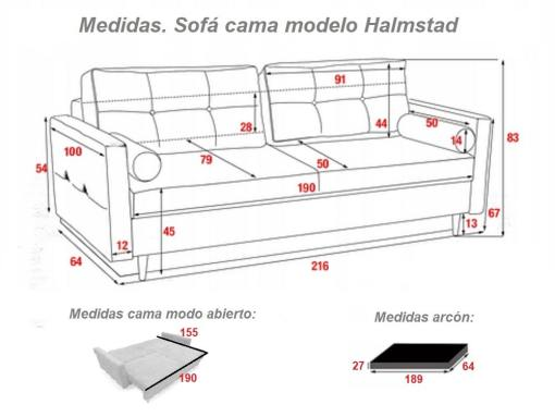 Medidas. Sofá cama escandinavo 3 plazas modelo Halmstad