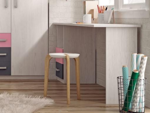 Mesa de estudio juvenil con tapa rectangular y 2 cajones, 202 x 50 cm - Luddo. Rosa y gris