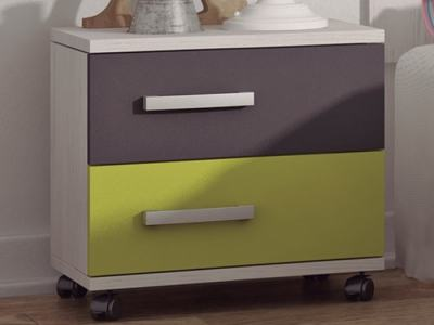 Bedside Table for Children's Bedrooms, with Wheels - Luddo. Grey and Green Drawers