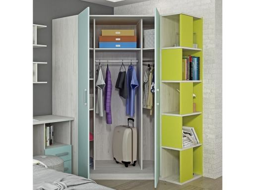 Puertas abiertas del armario de rincón con estantería-terminal - Luddo