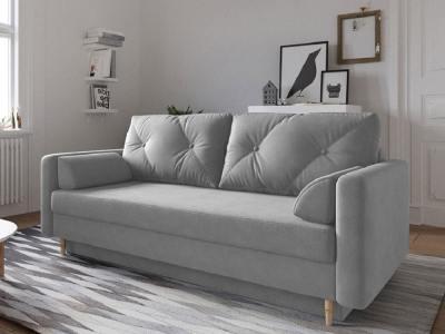 Scandinavian Design Sofa Bed with Storage - Halmstad. Light Grey Fabric
