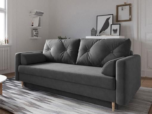 Sofá cama escandinavo 3 plazas. Tela microfibra gris oscuro - Halmstad