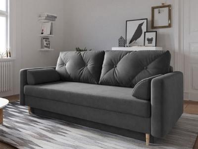 Scandinavian Design Sofa Bed with Storage - Halmstad. Dark Grey Fabric