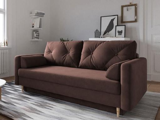 Scandinavian Design Sofa Bed with Storage - Halmstad. Brown Fabric