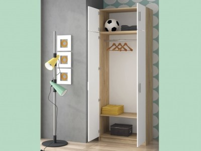 Tall 2 Door Wardrobe with Upper Compartment in Oak and White - Rimini
