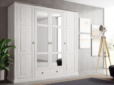 French Rustic Style 4 Doors Wardrobe with Mirrors - Provence