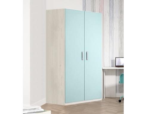 Угловой шкаф для детской комнаты, 2 голубые двери, 6 полок - Luddo
