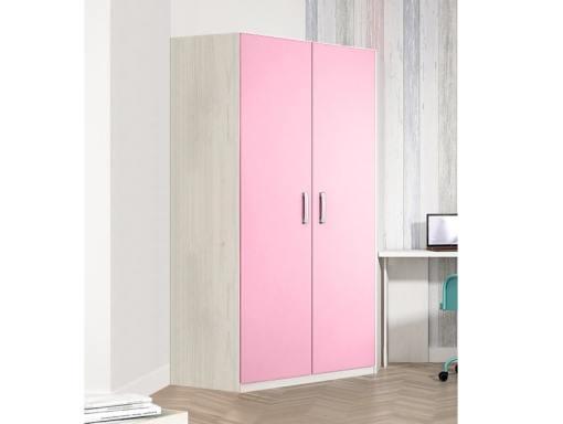 Угловой шкаф для детской комнаты, 2 розовые двери, 6 полок - Luddo