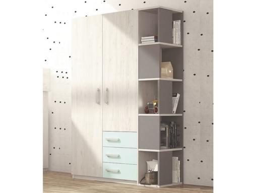 Голубые ящики, серый стеллаж. Шкаф с боковым стеллажом в детскую, 2 двери, 3 ящика, 5 уровней - Luddo