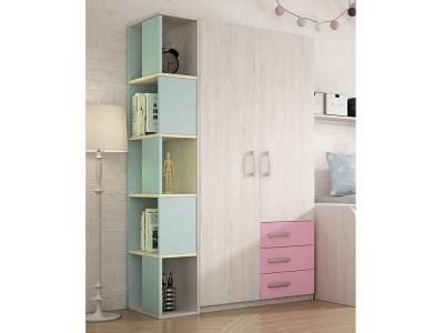 Розовые ящики, голубой стеллаж. Шкаф с боковым стеллажом в детскую, 2 двери, 3 ящика, 5 уровней - Luddo