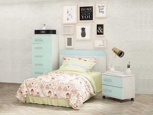 Conjunto para dormitorio juvenil - mesita de noche, cabecero y sinfonier. Azul con gris claro - Luddo 33