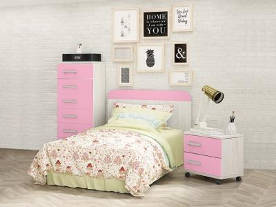 Children's Bedroom Set in Pink: Bedside Table, Headboard and Chest of Drawers - Luddo 33