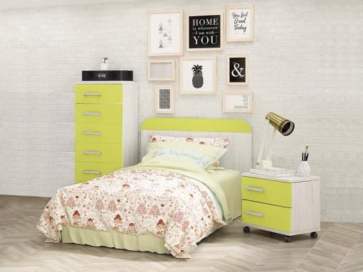Conjunto para dormitorio juvenil - mesita de noche, cabecero y sinfonier. Verde con gris claro - Luddo 33