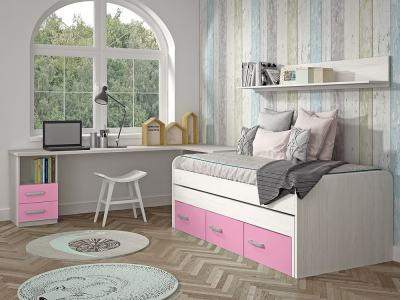 Kids Bedroom Furniture Set in Pink. Trundle Bed with Drawers, Corner Desk, Shelf - Luddo 13