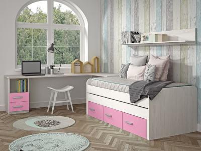 Dormitorio Juvenil. Color rosa. Cama compacta, escritorio, estante - Luddo 13
