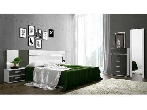 Dormitorio con luces LED. Gris - blanco. Sinfonier, 2 mesas de noche, cabecero, espejo - Cremona 01