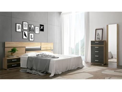 Dormitorio con luces LED. Marrón - gris. Sinfonier, 2 mesas de noche, cabecero, espejo - Cremona 01