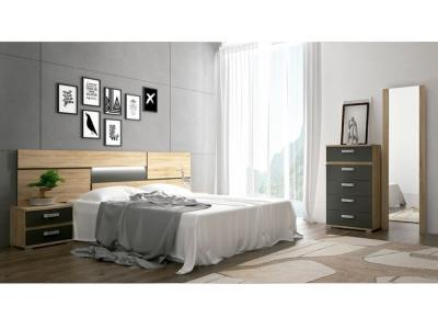 Bedroom Furniture Set with LED Lights. Brown and Grey. Tall Chest, 2 Bedside Tables, Headboard, Mirror - Cremona 01