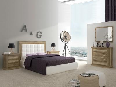 Спальный гарнитур с широким комодом, отделка под дерево – Alamaba 02