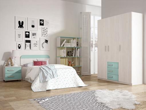 Dormitorio juvenil - armario 3 puertas, mesita de noche, cabecero, estantería - azul - Luddo 28
