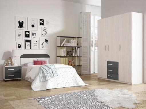 Dormitorio juvenil - armario 3 puertas, mesita de noche, cabecero, estantería - gris - Luddo 28