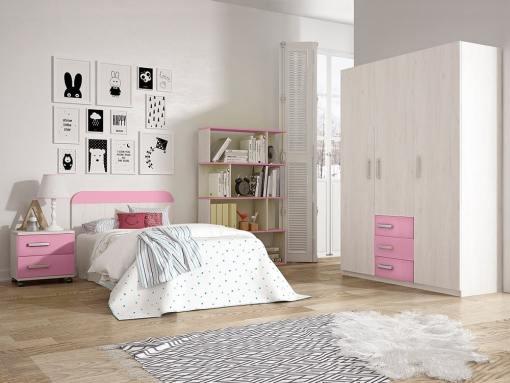 Dormitorio juvenil - armario 3 puertas, mesita de noche, cabecero, estantería - rosa - Luddo 28