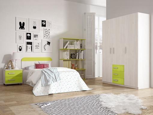 Dormitorio juvenil - armario 3 puertas, mesita de noche, cabecero, estantería - verde - Luddo 28