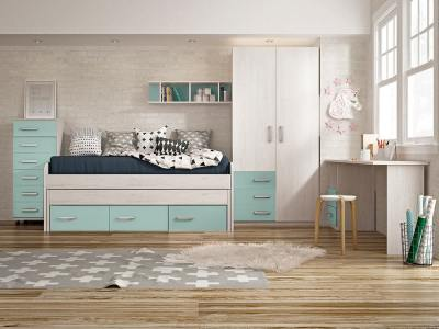 Blue Colour. Children's Bedroom Set: Tall Chest of Drawers, Wardrobe, Bed, Desk, Shelf - Luddo 14