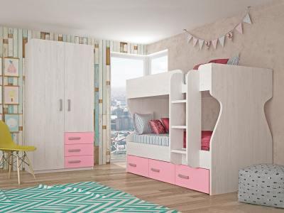 Dormitorio juvenil - cama litera con armario de 2 puertas, 3 cajones, rosa con gris claro - Luddo 24