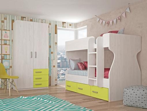 Dormitorio juvenil - cama litera con armario de 2 puertas, 3 cajones, verde con gris claro - Luddo 24