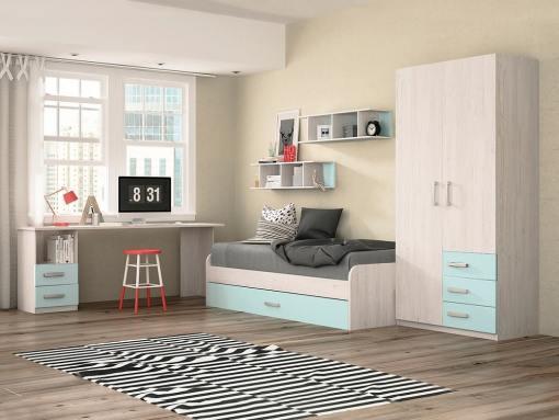 Dormitorio juvenil - color azul - cama nido, mesa de estudio, armario y estanterías - Luddo 06