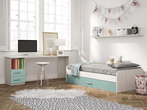 Dormitorio juvenil color azul - escritorio de 2 cajones, cama nido y estante de pared - Luddo 05