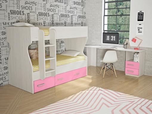 Dormitorio juvenil, color rosa - cama litera con cajones y escritorio - Luddo 26