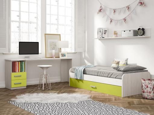 Dormitorio juvenil color verde - escritorio de 2 cajones, cama nido y estante de pared - Luddo 05
