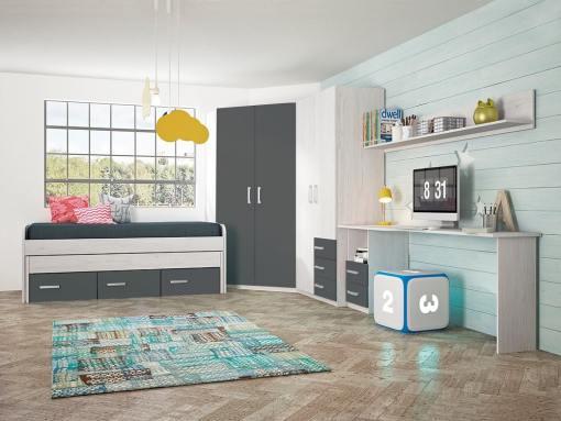 Children's Furniture Set in Grey: 2 Wardrobes, Bed, Desk and Shelf - Luddo 16