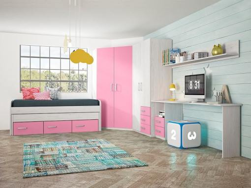 Children's Furniture Set in Pink: 2 Wardrobes, Bed, Desk and Shelf - Luddo 16