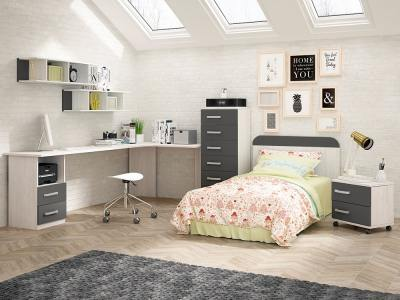 Children's Furniture Set in Grey: Tall Chest of Drawers, Headboard, Desk, Bedside Table, Shelves - Luddo 27