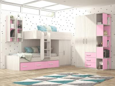 Dormitorio juvenil - rosa y gris claro - cama tren con armario, armario 2 puertas y estanterías - Luddo 22