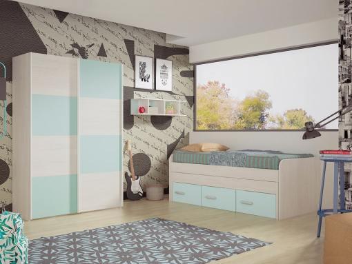 Dormitorio juvenil. Armario puertas correderas, cama 3 cajones y estantería. Color azul - Luddo 10