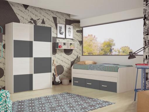 Dormitorio juvenil. Armario puertas correderas, cama 3 cajones y estantería. Color gris - Luddo 10