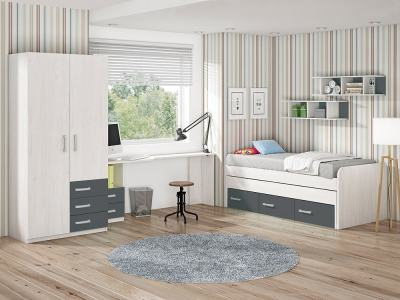 Children's Bedroom Furniture Set in Grey. Bed, Wardrobe, Desk and Shelves - Luddo 20